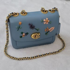 Coach Madison Shoulder Bag 16 w/ Floral Embroidery